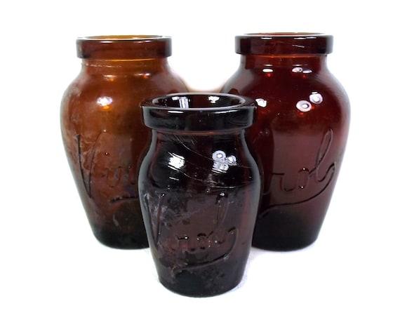Set of 3 Brown Glass Virol Jars