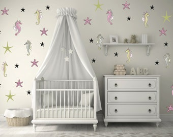 Fun Sea Horses and Stars Wall Decals