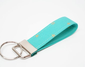 Gold Star on Mint Key Chain / Key Fob / Wristlet - Choose you length
