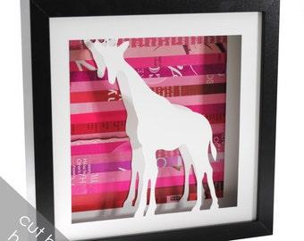 giraffe shadowbox- made from recycled magazines, zoo animal, baby room decor, animal