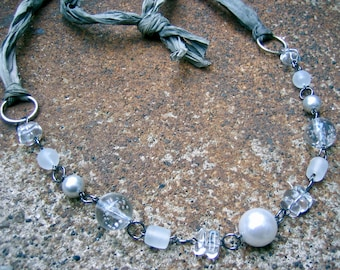 Eco-Friendly Silk Ribbon Statement Necklace - Clarity & Grace - Recycled Vintage White and Grey Glass Pearls, Clear Beads,  Sari Silk Ribbon