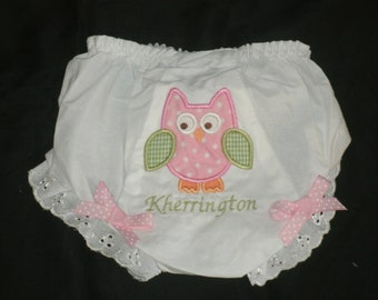 Monogrammed Owl Baby Bloomers, Personalized Owl Diaper Cover, Baby Girl Bloomers