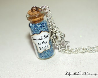 Neverland Necklace, Second Star to the Right Magical Necklace 2 Star Charms, Neverland, Peter Pan, Pixie Dust Necklace, Happiest Things