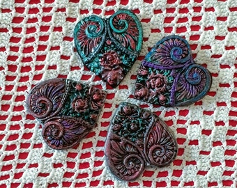 Polymer Clay Heart Shaped Pendant/Brooch- Listing is for 1 Heart