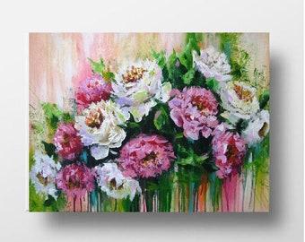 Peony flower painting on canvas Floral acrylic artwork Peony flower art Modern acrylic knife painting Palette knife art White peony painting