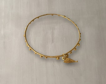 Aqua Bubbles Bangle 24K Gold Plated Hammered Bronze/Handmade Stackable Gold Bangle Bracelet/Gold Plated Thin Bangle – B002A