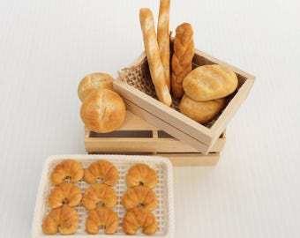 Miniature Breads - Bread for Dollshouse - Dollhouse Miniature Food - Dollshouse Food - 1:12 scale food - Mini Bread - polymer clay food