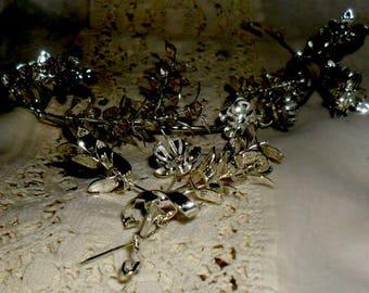 Tiara de aniversario de boda alemana ~ corona ~ plata corona de Mirto ~ juego socio broche ~ bodas de plata ~ corona de boda Vintage