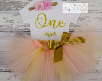 1st birthday outfit girl, Girls first birthday outfit, First Birthday tutu, Pink and gold first birthday outfit, Cake smash outfit