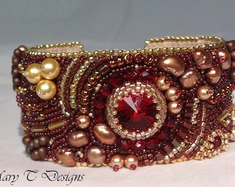 Garnet and Gold Bead Embroidery Cuff Bracelet ... EBW Team