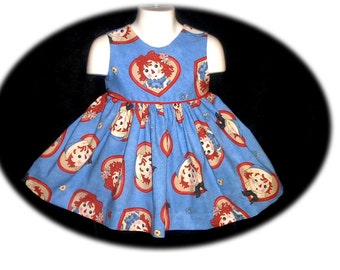 2 Pc Daisy Kingdom Raggedy Ann Dress and Bloomers  Size 12 Mo to Size 4T