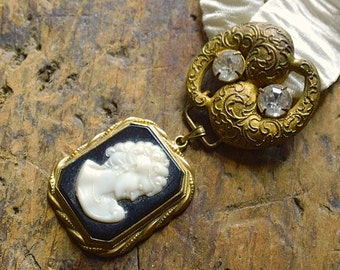 Antique Paste Pendant Necklace with Cameo Dangle, Jewelry gift for her