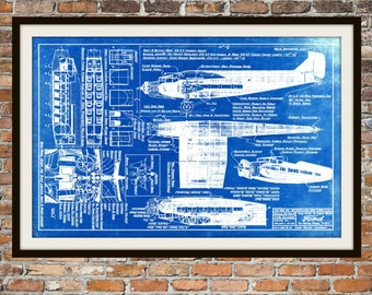 Blueprint Art of a Ford Trimotor Plane with Cabin Views Technical Drawings Engineering Drawings Patent Blue Print Art Item 0048