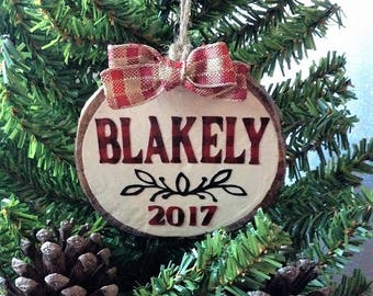 Personalized Christmas Ornament, Christmas 2017 Ornament, Rustic Christmas Ornament, Tree Slice Ornament, Wooden Ornament, Holiday Ornament