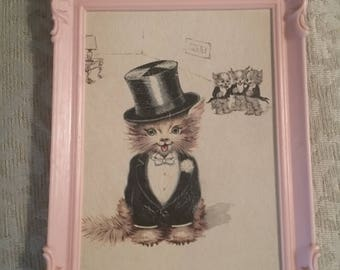 Kitten in Groom costume with groomsman in background - hand painted