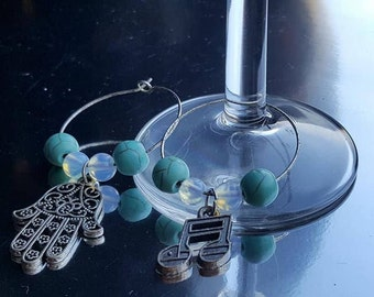 Wine glass rings with Opaliet and Howlite