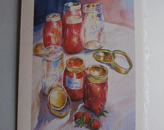 Strawberry Jams and Preserves 5 x 7 Note Card Ball Jars Red Gold by watercolorsNmore