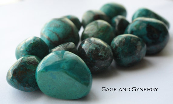 Large Premium Tumbled Chrysocolla Stone, Gem Silica Mineral, Green Crystals for Healing, Polished Crystals and Stones, Crystal Healing Rocks