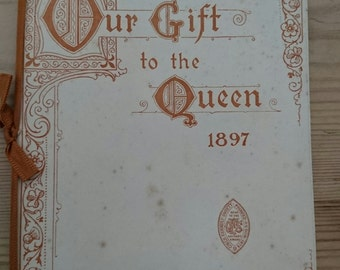 Antique booklet of pictures of samplers sent to Queen Victoria 1897