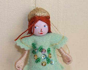 Easter hanging ornament Pistachio Green Piksee Felt Art Doll, Handmade Felt Dolls