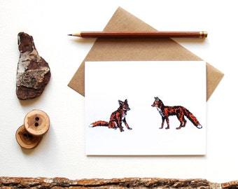 Pair of Foxes - Red Fox Card - Red Fox Print - Illustrated Greeting Card - Animal Couple - Animal Lover - Pair - Canadian Wildlife Card