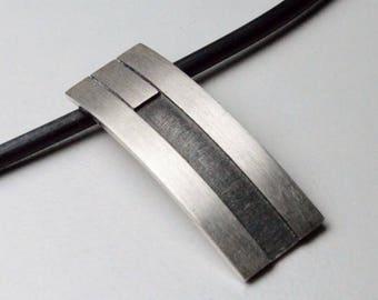 Vintage Sterling Silver Modernist Kriszio Mexico Artist Signed Black Cord Necklace