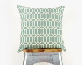 Aqua dusk blue & beige geometric outdoor pillows | Patio decor, garden decorations | 18x18 decorative throw pillow case, cushion covers