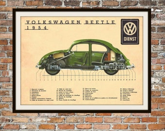 Volkswagen VW 1954 Beetle Type 1 Cut Away Green Print  Vintage Advertising -  Vintage Volkswagen - Art Item 0113