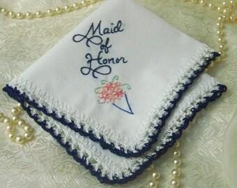 Trauzeugin Taschentuch, Trauzeugin Geschenk, Hochzeitsfest-Geschenk, individuell bestickt, Marineblau, sofort lieferbar
