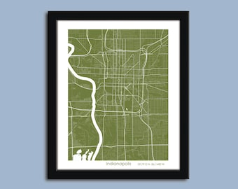 Indianapolis map, Indianapolis city map art, Indianapolis wall art poster, Indianapolis decorative map