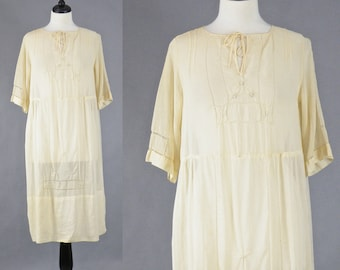 Vintage 1920s Cotton Dress, 20s Dress, Sheer 1920s Day Dress, M - L