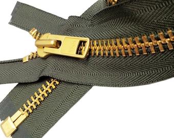 "24"" Extra Heavy Duty Jacket Zipper  YKK #10 Brass Separating (1 Zipper/pack)~ ZipperStop Wholesale Authorized Distributor YKK®"