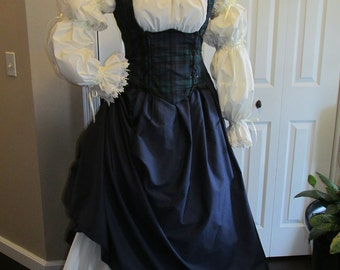 DDNJ 4pc Choose Fabric Reversible Corset Style Bodice Chemise Skirts Plus Custom Made ANY Size Anime Costume Medieval Pirate Cosplay larp