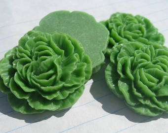 LARGE CARNATION Cabochons - Lot of 12 - 35mm - Grass Green
