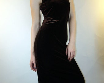 Vintage Brown Velvet DRESS, 1980s