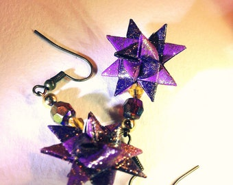 Purple Moravian Star Beaded Dangle Earrings