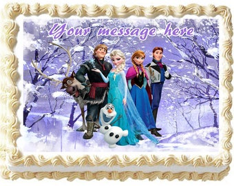 FROZEN ANNA and ELSA Image Edible cake topper party