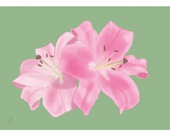 Flower Greeting Card, Blank, Pink Lilies Design No A6019