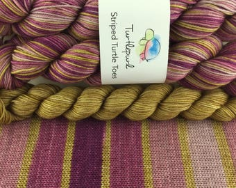 City Girl With Gold Heel and Toe - Ready to Ship by June 1st - Hand-Dyed Self-Striping Sock Yarn
