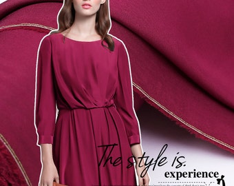 115CM Wide 16MM Wine Red Dupion Silk Fabric For Summer Evening Dress