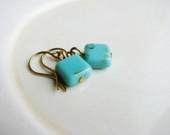 Sky Blue Czech Glass Earrings, Square Bead Earrings, Blue Earrings, Minimalist, Geometric, Earthy, Simple Design