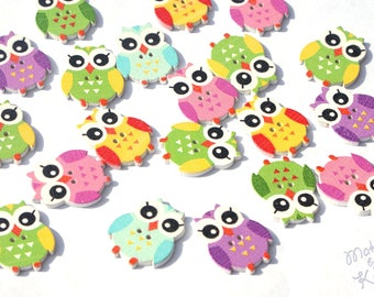 Colorful Wooden Owl decorative Buttons for Sewing Craft Scrapbooking Cardmaking Flatback DIY  Mixed colours  2 holes kid's children's