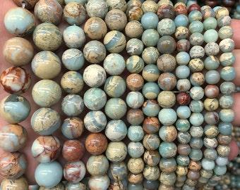 Natural Impression Jasper Beads, Green Brown Jasper Gemstone Beads, Loose Semi Precious Stone Beads4mm 6mm 8mm 10mm 12mm 14mm 15'' strand