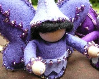 Purple Boy Wool Felt Fairy, Peg Doll Fairy, Waldorf Inspired, One of a Kind, Miniature Fairy Peg Doll