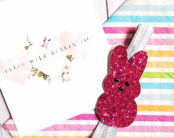 Bunny hair clip, glitter bunny headband, bunny headband, Easter bunny hair clip