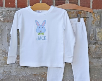 Mr Bunny Monogram Pajamas - Personalized Easter Pajamas - Monogram Easter Pajamas - JULIANNE ORIGINALS