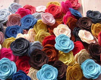Wool Felt Flowers - LARGE Posies - Set of 40 - You Pick Your Colors