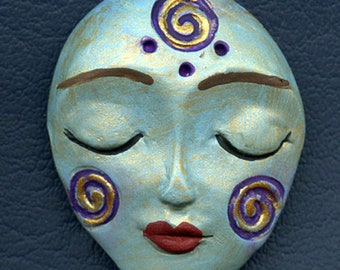 Spirit Doll Face  Polymer Clay  Tribal  Art Doll  Face  Cab  SD 6