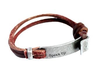 Leather Speak Up Bracelet