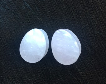 Rose Quartz Teardrop Stone Double Flare Saddle Gauges Plugs Tunnels 5/8th 16mm